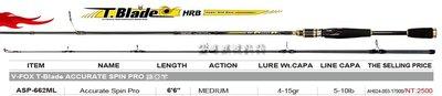 魚海網路釣具 T-Blade ACCURATE SPIN PRO 路亞竿 ASP-662ML