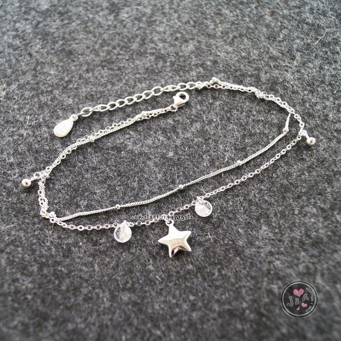 【Jia' s】吊鑽光面星星雙層純銀腳鍊S925。正生純銀