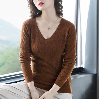 羊毛 衫 V領毛衣-修身純色經典保暖女針織衫2色73uj44[獨家進口][巴黎精品]