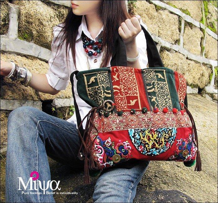 竹竹中國服飾--民族風包泰國風刺繡單肩包斜挎包帆布包女包 蔓陀羅 (特價品)