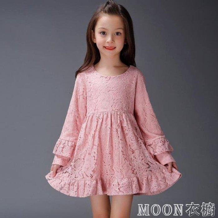 童裝春裝新款女童長袖洋裝韓版中大童公主裙兒童蕾絲裙