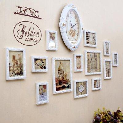歐式實木照片牆客廳臥室沙發背景相片牆裝飾創意時鐘組合相框掛牆