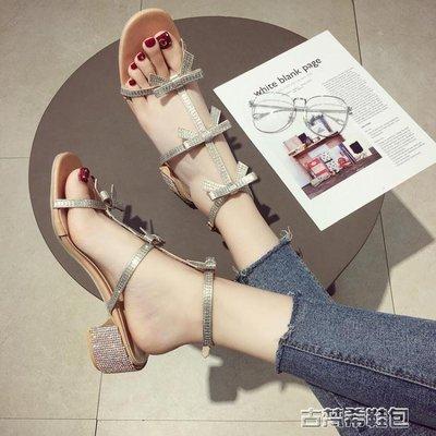 涼鞋新款女夏歐美蝴蝶結百搭中跟粗跟水鑽一字扣帶羅馬鞋