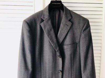 歐碼50 原價四萬多【CERRUTI 1881】夏綠蒂鐵灰單排三釦牛角釦西裝外套