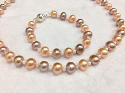 全天然日本珍珠7(3/4)-9mm 手鍊、項鏈套組 42&17CM 純銀配件【Texture & Nobleness 低調與奢華】