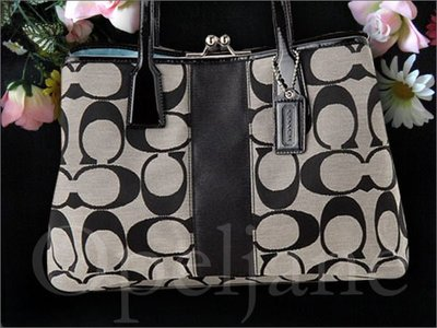 Coach 13533 C織布黑白色真皮邊飾珠釦雙夾層托特包包肩背包手提包 免運費 愛Coach包包