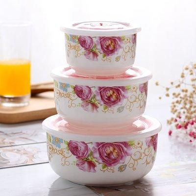 陶瓷保鮮碗三件套冰箱微波爐學生飯盒便當密封帶蓋帶保溫袋泡面碗