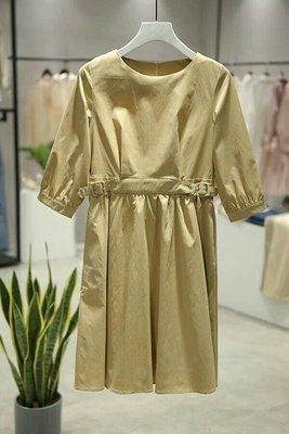 專櫃 棉質透氣米色洋裝 腰帶可調節 背後有拉鏈