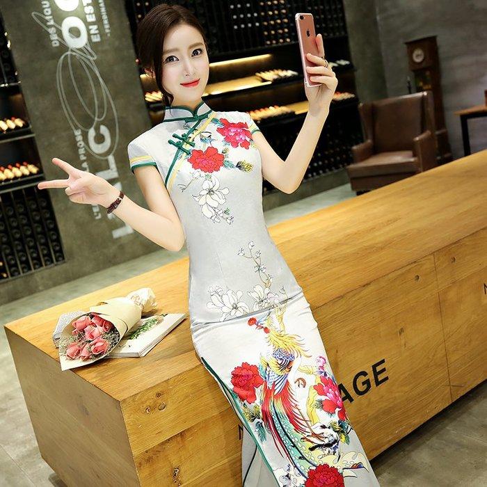 傳統 中國風 淑女 修身 高腰 顯身材 旗袍長款夏季修身改良少女淑女氣質時尚日常連衣裙大碼女