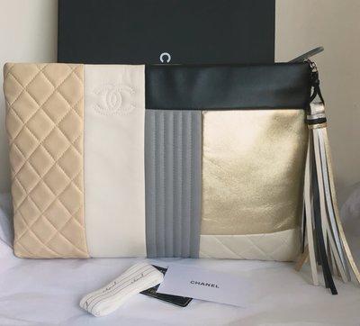 Chanel (限量雙面拼色羊皮)*最大尺寸*流蘇手拿包(🙋優惠分享價!)
