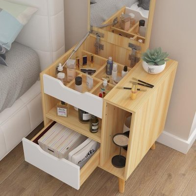 梳妝台臥室小戶型飄窗化妝台床頭收納櫃一體簡約網紅化妝小桌子QM 全館免運