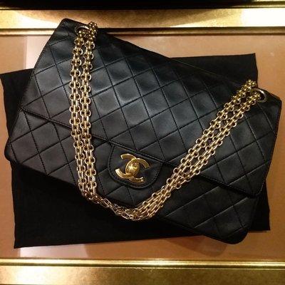 Chanel coco 雙蓋復古2.55金鏈條黑色羊皮包25cm 台中市