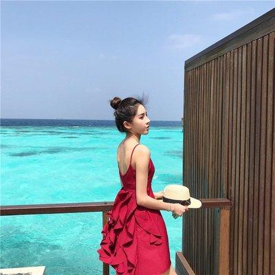 【Strawberry】2019巴厘島度假沙灘裙女泰國性感露背吊帶裙短裙紅色連衣裙
