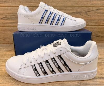 DIBO-現貨 KSWISS 男鞋 COURT 男生 皮質 休閒運動鞋 白鞋字母邊~06933 兩色