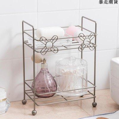 精選 小花二層收納架 浴室置物架廚房用品收納架調味架