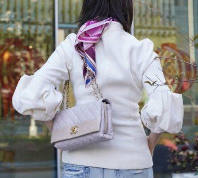 Chanel A66413 Chain Shoulder Flap 小牛皮3層鍊帶肩背 櫻花粉