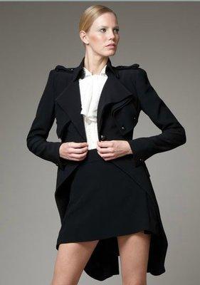 Alexander McQueen Crepe frock coat 皺折雙排釦外套 IT 38 黑