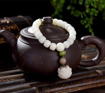 白玉菩提根手串男士手鏈佛珠飾品白玉菩提手串情侶款蓮花