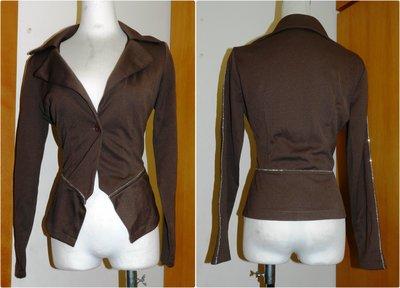 都會名牌~【Actress 】銀線條裝飾腰部與袖子 棕灰色外套~HQ