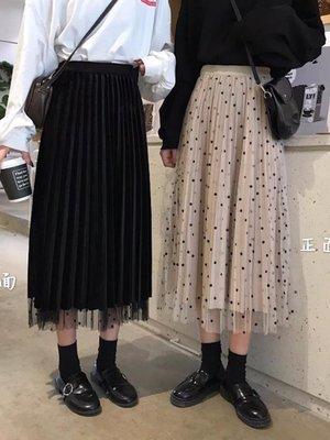 半身裙秋冬季女裝2019新款兩穿加厚款高腰波點金絲絨網紗仙女裙子 青木鋪子