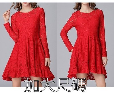 Q112 春裝大碼新款獨立設計歐美蕾絲連衣裙