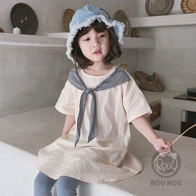 零碼出清不退換~韓版女童洋裝。ROUROU童裝。韓版夏女童中小童棉麻海軍風魚尾洋裝 0226-157