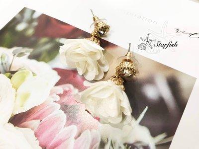 【海星 Starfish】韓風名媛款 金緻鑲鑽浪漫花朵耳環 (純白)