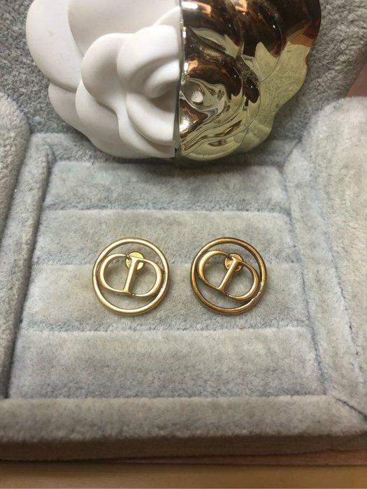 DIOR 經典 二手 圓形 鏤空 復古 古銅金 耳環