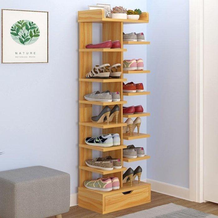 多層鞋架簡易家用經濟型省空間家里人仿實木色鞋柜門口小鞋架宿舍