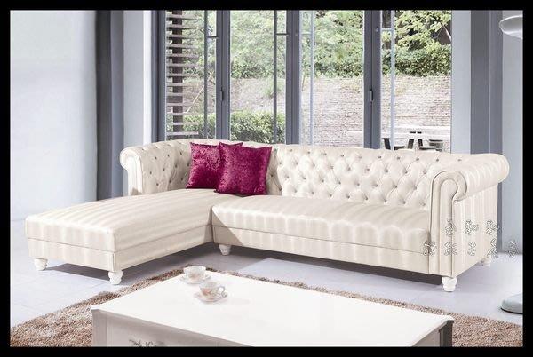 【Oo暖暖屋oO】  美式新古典**~艾芬妮白色皮革經典L型沙發~**