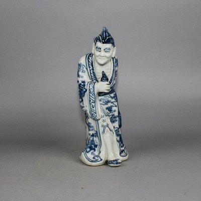 ㊣三顧茅廬㊣ 民國雕塑瓷青花濟公佛像一尊福建會館普助眾生古玩古董收藏