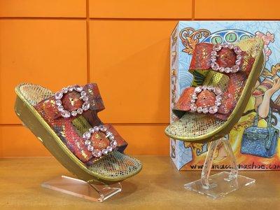 【阿典鞋店】**Macanna**麥坎納專櫃~鬱金香系列~橘花毯~鑲鑽~獨一無二~全特殊手工製氣墊鞋03087D