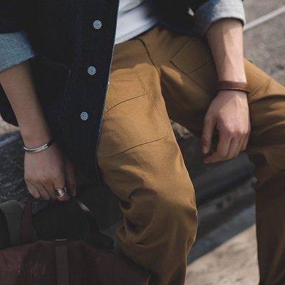 拓荒者革製所。美式復古土黃伐木工裝褲阿美咔嘰直筒休閑墜感皺褶設計長褲男