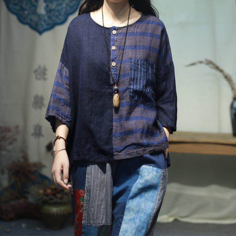 【子芸芳】原創大碼水洗色織純亞麻拼接中性寬鬆小衫