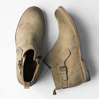 ∵ PRAY FOR FASHION ∴英倫復古中筒真皮麂皮反毛皮擦色做舊呈現髒感木紋防滑橡膠底軍靴牛仔靴