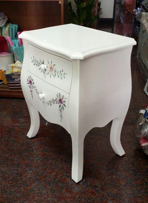 美生活館---浪漫白色彩繪家具--愛戀白色方雙抽櫃/邊几/床頭櫃/角落櫃-有現貨
