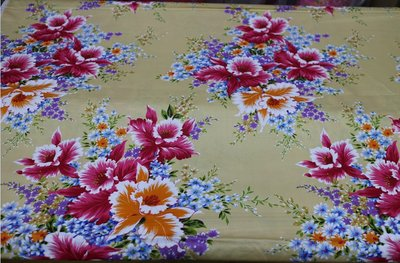 杜鵑花 (淺黃色) 純棉花布 三尺寬 客家花布/印花布/被單布/拼布/新遠東染紡