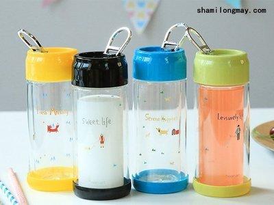 HAPPY+【V5197】小清新隨行玻璃杯 創意水杯 隨身瓶 果汁杯 My bottle 星巴克 水瓶 運動水壺 咖啡杯