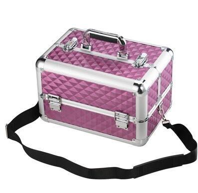 【優上】手提化妝箱美容美甲專業紋繡師工具箱折疊半永久紋眉多層鋁合金箱「紫紅色」