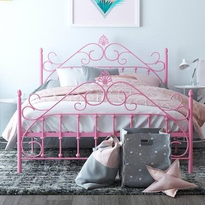 床架 歐式現代簡約公主鐵藝床鐵架鋼架雙人單人成人兒童1.2 1.5 1.8米igo