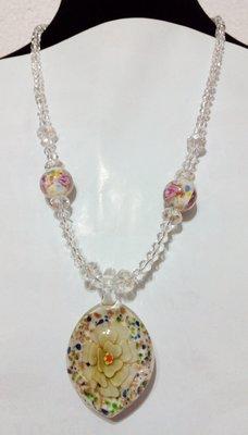 【久榮藝館】琉璃項鏈  ~ 橢 圓 形 花 朵 造 型 ~ B20