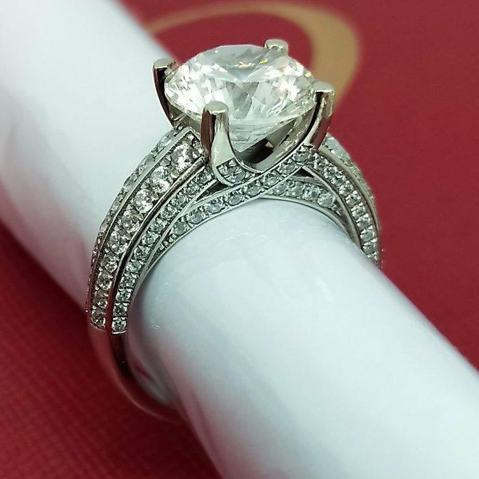 鑽戒克拉夢 4克拉就是愛炫耀 求婚 結婚 情人節禮物 鑽石肉眼看是真鑽純銀包鉑金白金色戒指 高碳仿真鑽石  ZB鑽寶