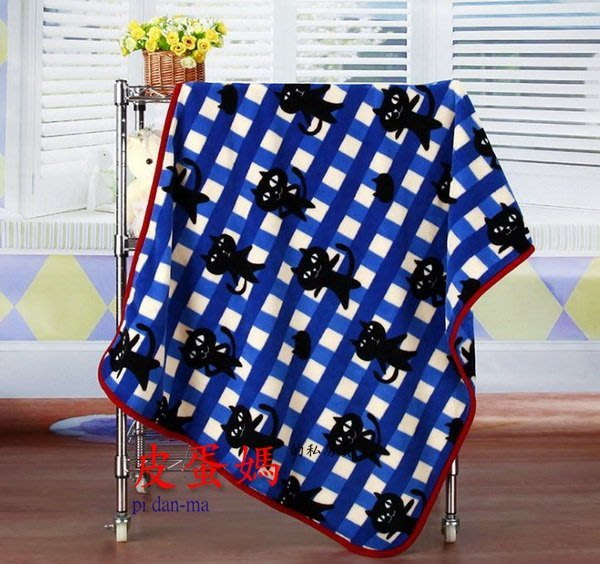 【皮蛋媽的私房貨】BED0130格子黑貓-貓咪貓頭貓臉-柔軟寵物毯-毛毯-睡墊/小毯子/小棉被.睡毯-珊瑚絨嬰兒毯
