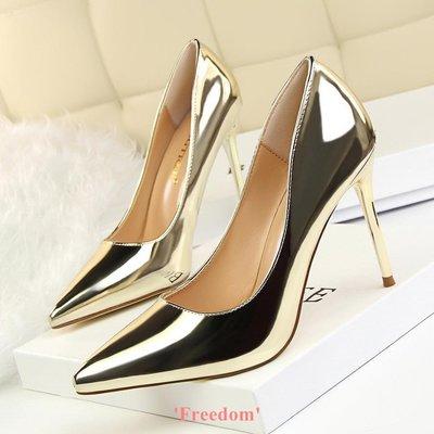 Freedom~女鞋歐洲站時尚黑色12cm10cm8cm超高跟鞋細跟銀色尖頭淺口鞋職業女鞋