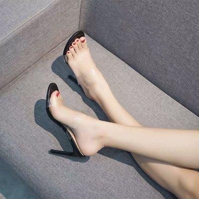 womens shoes transparent PVC open toed 露趾透明膠片高跟涼鞋