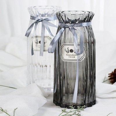 YEAHSHOP 花瓶歐式直筒棱柱透明玻璃花瓶臥室客廳書房玫瑰非洲菊插花適用295332Y185