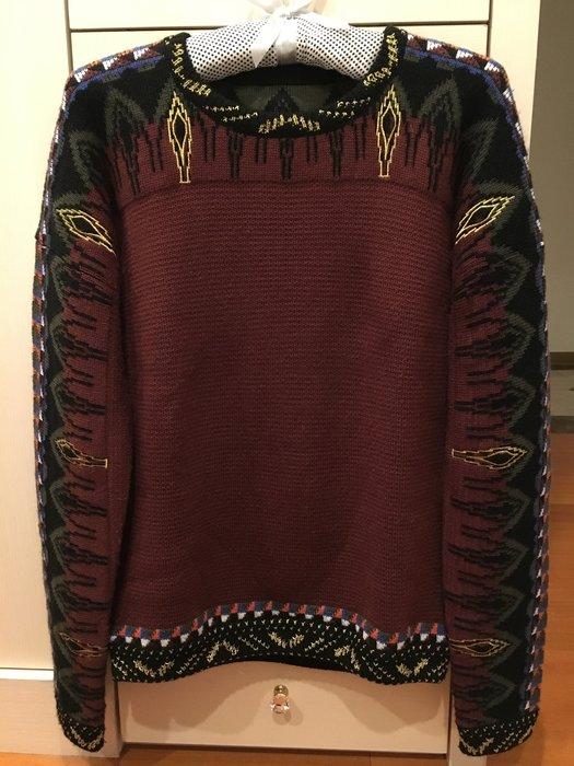 歐美設計師款 幾合圖案深棗毛衣