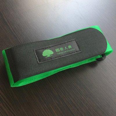 [全新] 國泰人壽 黑色綠色 撞色行李綁帶