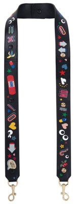 ANYA HINDMARCH Black All Over Wink Stickers Bag Strap (New)