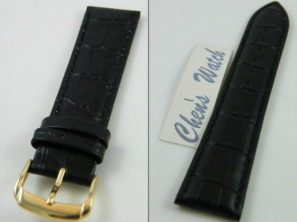 【錶帶家】『超值代用』LIMA 義大利進口鱷魚紋牛皮真皮錶帶 20mm 16mm 14mm 12mm 霧面黑色